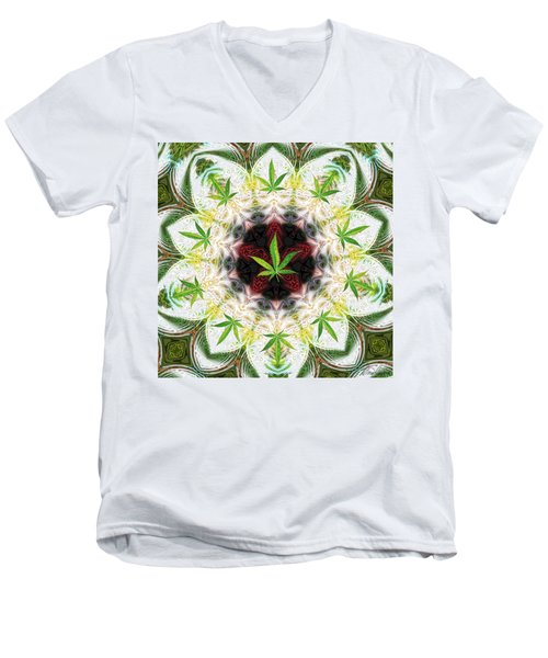 Sweetleaf Mandala Men's V-Neck T-Shirt by Diana Haronis