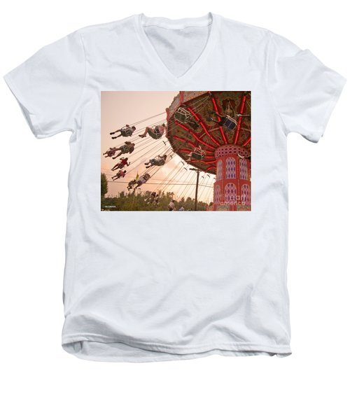 Swings At Kennywood Park Men's V-Neck T-Shirt by Carrie Zahniser