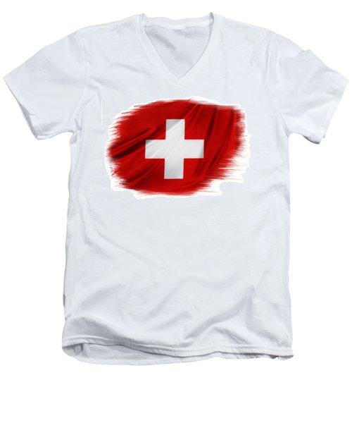 Swiss Flag Men's V-Neck T-Shirt