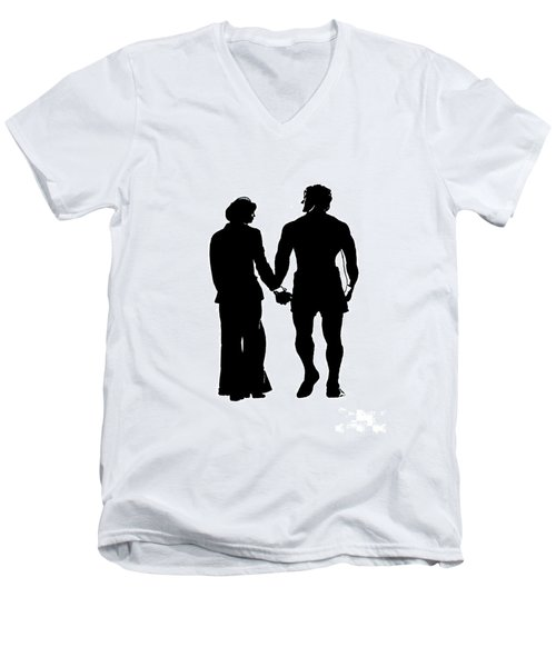 Sylvester Stallone And Talia Shire In Rocky Men's V-Neck T-Shirt