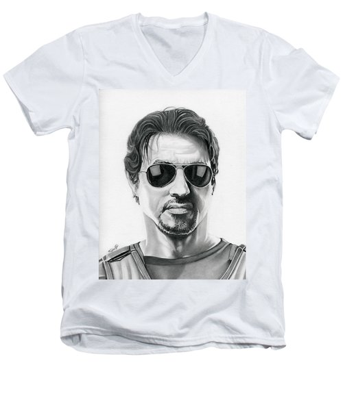 Sylvester Stallone - The Expendables Men's V-Neck T-Shirt by Fred Larucci