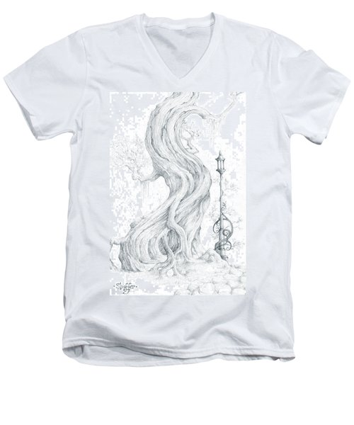 Men's V-Neck T-Shirt featuring the drawing Sylvia And Her Lamp Drawing by Curtiss Shaffer