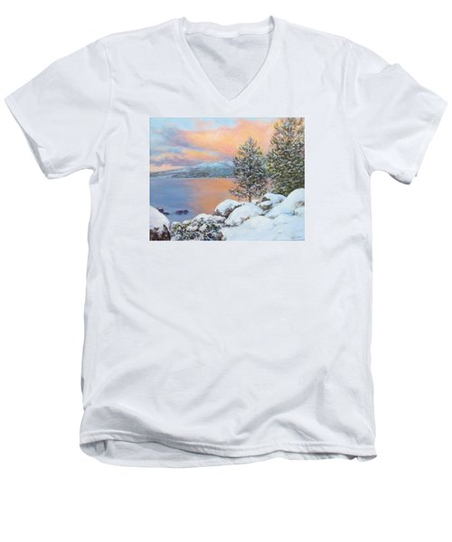 Tahoe Winter Colors Men's V-Neck T-Shirt by Donna Tucker