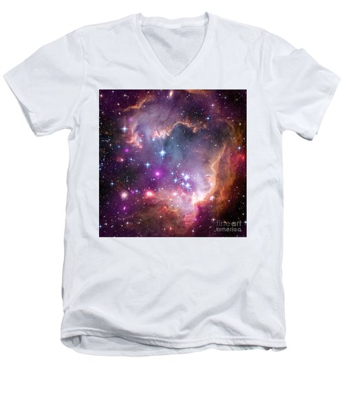 Men's V-Neck T-Shirt featuring the  Taken Under The Wing Of The Small Magellanic Cloud by Paul Fearn