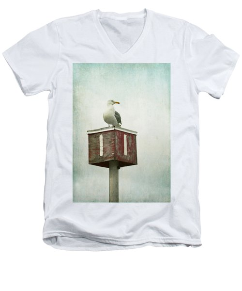 Men's V-Neck T-Shirt featuring the photograph Gull With Blue And Red by Brooke T Ryan