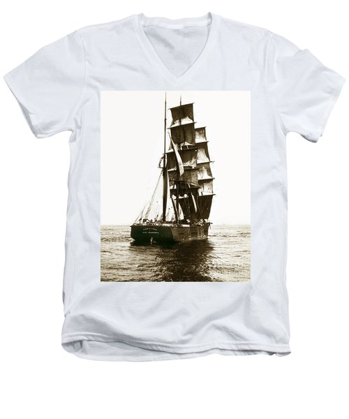 Men's V-Neck T-Shirt featuring the photograph Tall Ship Germania Out Of San Francisco California  Circa 1900 by California Views Mr Pat Hathaway Archives