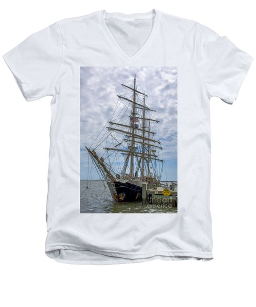 Men's V-Neck T-Shirt featuring the photograph Tall Ship Gunilla Vertical by Dale Powell