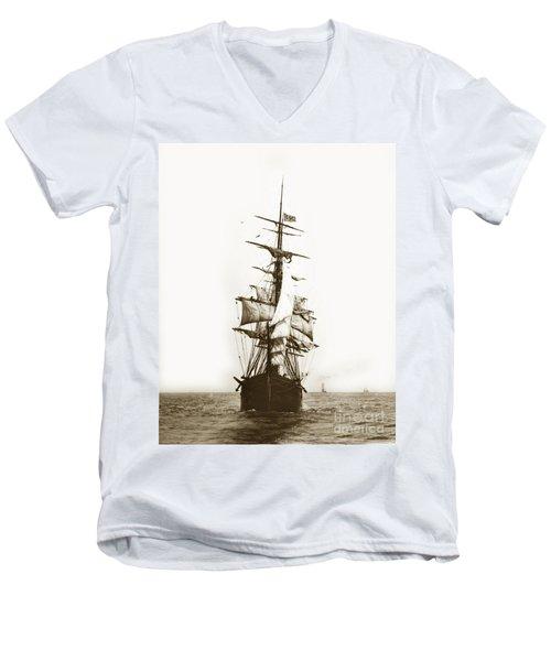 Men's V-Neck T-Shirt featuring the photograph Tall Ship Sailing Out Of San Francisco California Circa 1900 by California Views Mr Pat Hathaway Archives