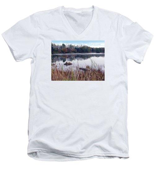 Tallgrass At Lake Katherine Men's V-Neck T-Shirt by Cedric Hampton