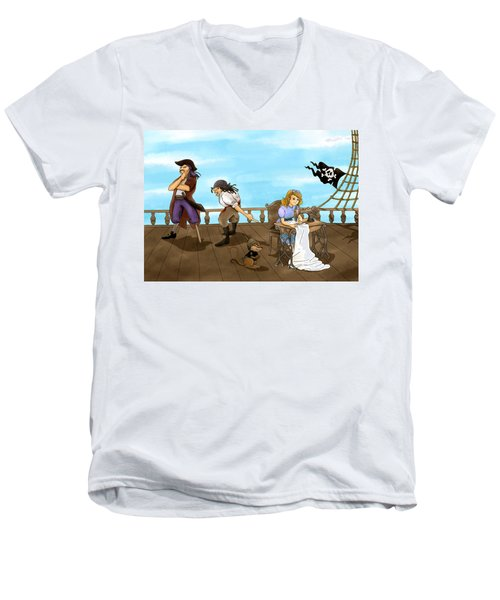 Men's V-Neck T-Shirt featuring the painting Tammy And The Pirates by Reynold Jay