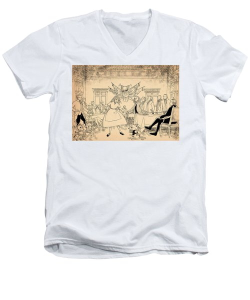 Men's V-Neck T-Shirt featuring the drawing Tammy In Indpendence Hall by Reynold Jay