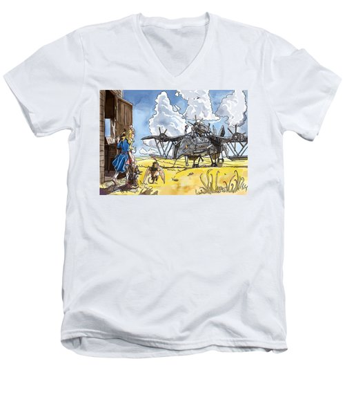 Men's V-Neck T-Shirt featuring the painting Tammy Sees A Thingamajig by Reynold Jay