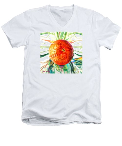 Men's V-Neck T-Shirt featuring the painting Tangerine Orb Nouveau by Robin Moline