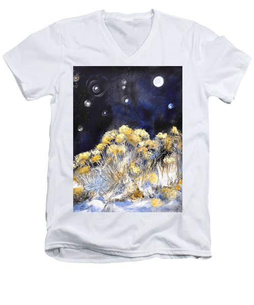 Taos Night Orbs Men's V-Neck T-Shirt by Glory Wood