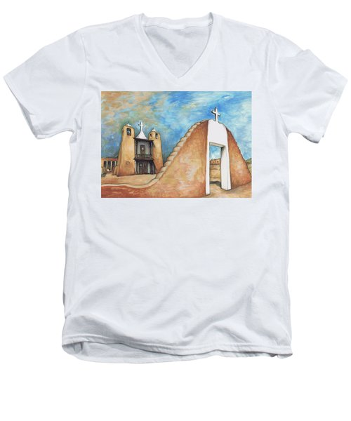 Taos Pueblo New Mexico - Watercolor Art Painting Men's V-Neck T-Shirt
