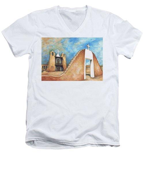 Taos Pueblo New Mexico - Watercolor Art Painting Men's V-Neck T-Shirt