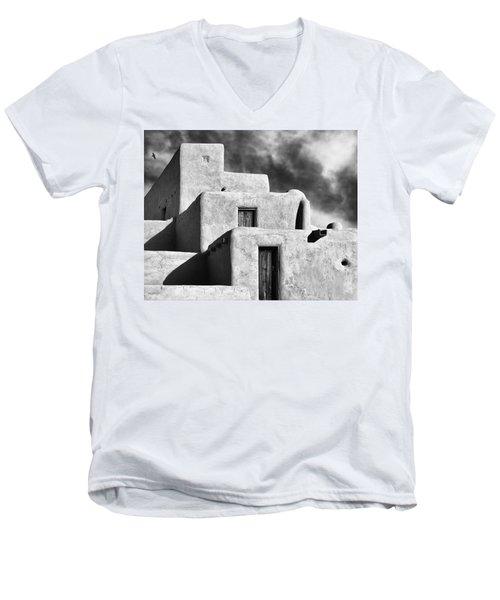 Taos Pueblo Stacks Men's V-Neck T-Shirt by Gary Warnimont