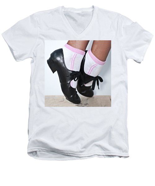 Tap Dance Shoes From Dance Academy - Tap Point Tap Men's V-Neck T-Shirt by Pedro Cardona