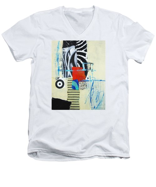 Men's V-Neck T-Shirt featuring the mixed media Target by Elena Nosyreva