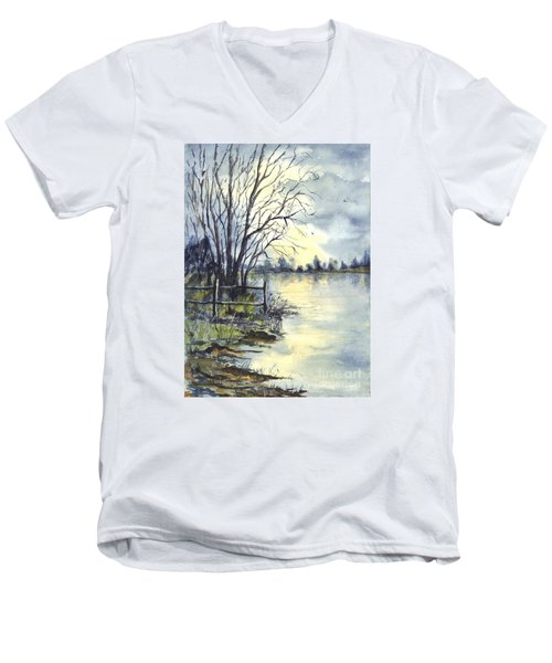 Moonlight Reflections In Loch Tarn In Scotland Men's V-Neck T-Shirt by Carol Wisniewski