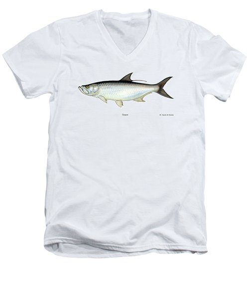 Tarpon Men's V-Neck T-Shirt by Charles Harden