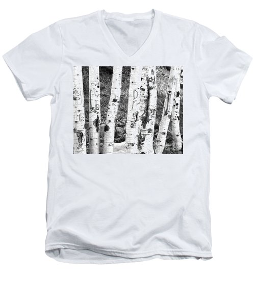Tattoo Trees Men's V-Neck T-Shirt by Rebecca Margraf
