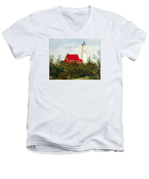 Men's V-Neck T-Shirt featuring the painting Tawas by Lee Piper