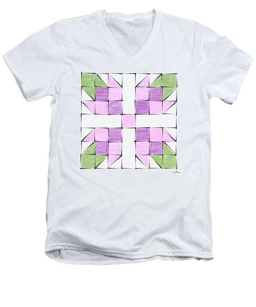 Tea Rose Quilt Block Men's V-Neck T-Shirt by Sandy MacGowan