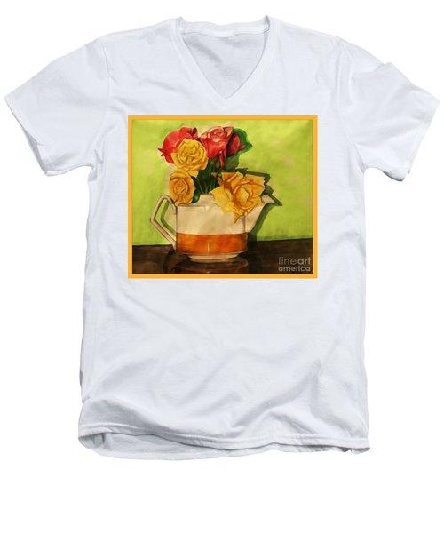 Tea Roses Bordered Men's V-Neck T-Shirt