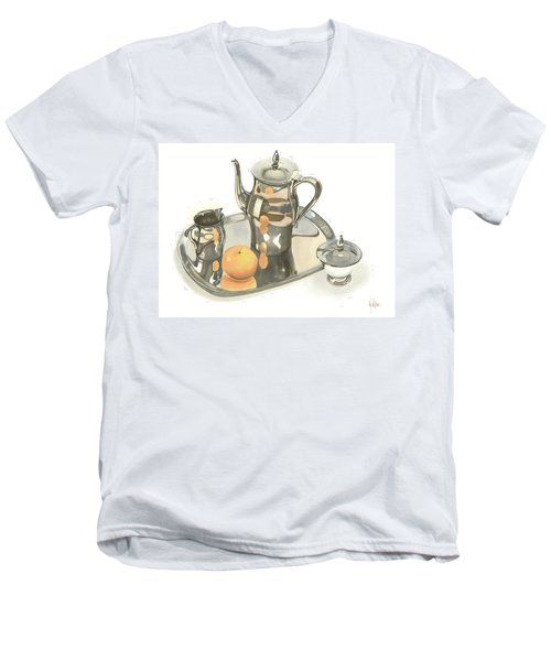 Tea Service With Orange Men's V-Neck T-Shirt