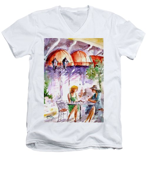 Men's V-Neck T-Shirt featuring the painting Tea Time...  by Faruk Koksal