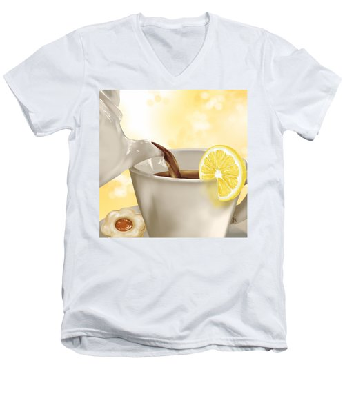 Tea Time Men's V-Neck T-Shirt by Veronica Minozzi