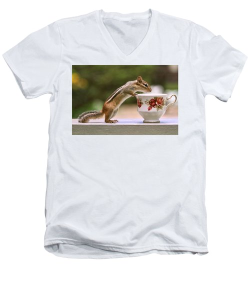 Tea Time With Chipmunk Men's V-Neck T-Shirt by Peggy Collins