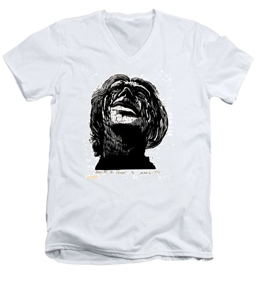 Men's V-Neck T-Shirt featuring the relief Tears For Her Dead by Seth Weaver