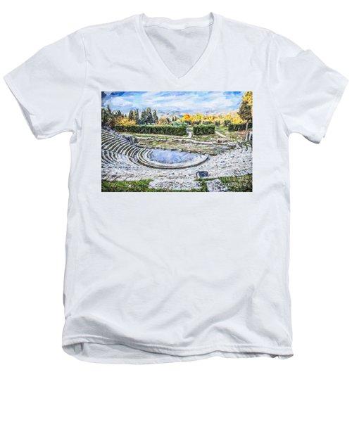 Teatro Romano Fiesole Tuscany Men's V-Neck T-Shirt