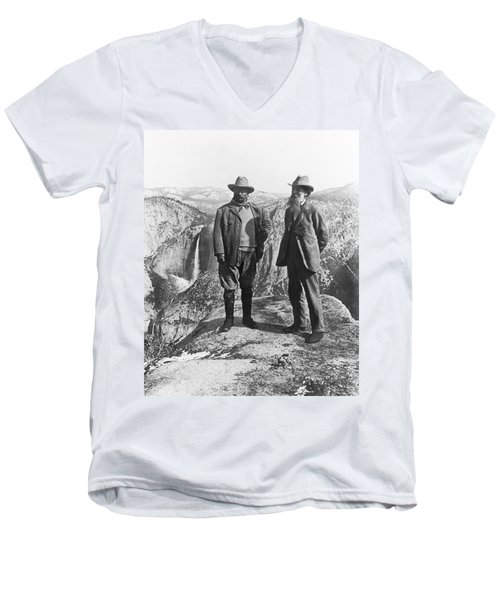 Teddy Roosevelt And John Muir Men's V-Neck T-Shirt