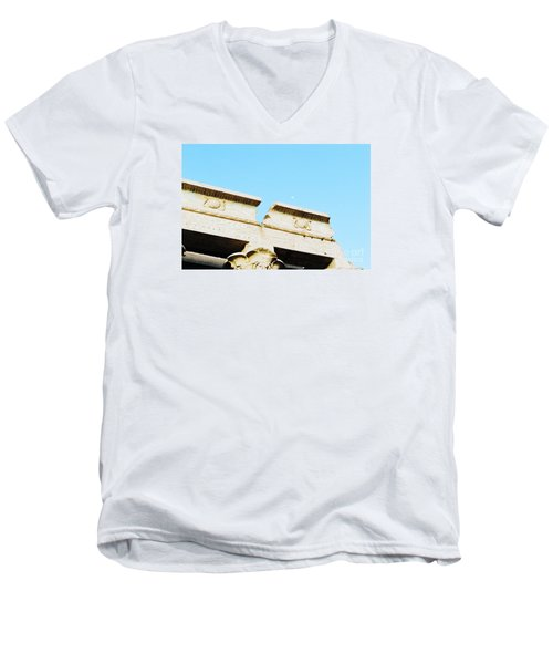 Men's V-Neck T-Shirt featuring the photograph Temple At Luxor by Cassandra Buckley