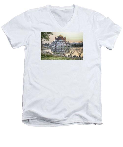 Temple Wuxi China Color Men's V-Neck T-Shirt