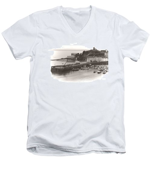 Tenby Harbour And Castle Hill Vignette Men's V-Neck T-Shirt