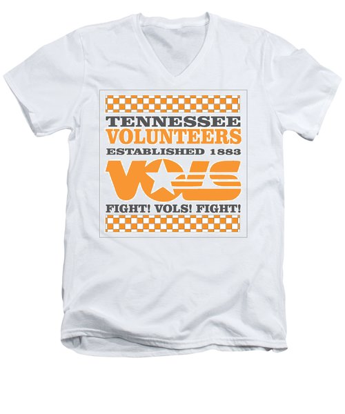 Tennessee Volunteers Fight Men's V-Neck T-Shirt by Debbie Karnes