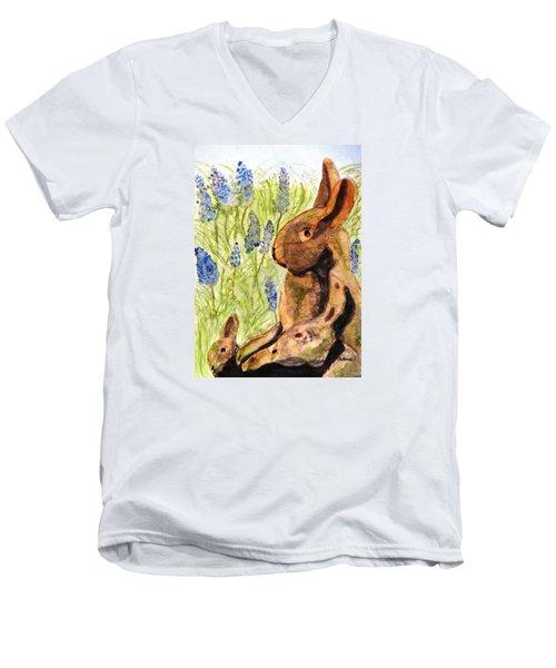 Terra Cotta Bunny Family Men's V-Neck T-Shirt by Angela Davies