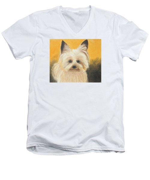 Terrier Men's V-Neck T-Shirt by Jeanne Fischer