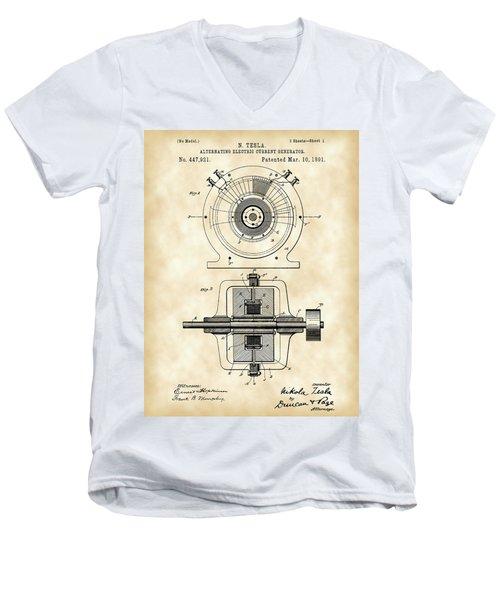 Tesla Alternating Electric Current Generator Patent 1891 - Vintage Men's V-Neck T-Shirt