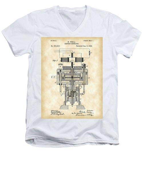Tesla Electric Generator Patent 1894 - Vintage Men's V-Neck T-Shirt by Stephen Younts