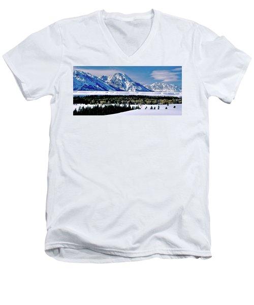 Teton Valley Winter Grand Teton National Park Men's V-Neck T-Shirt