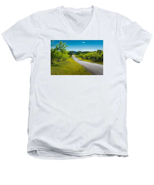 Texas Hill Country Road Men's V-Neck T-Shirt by Darryl Dalton