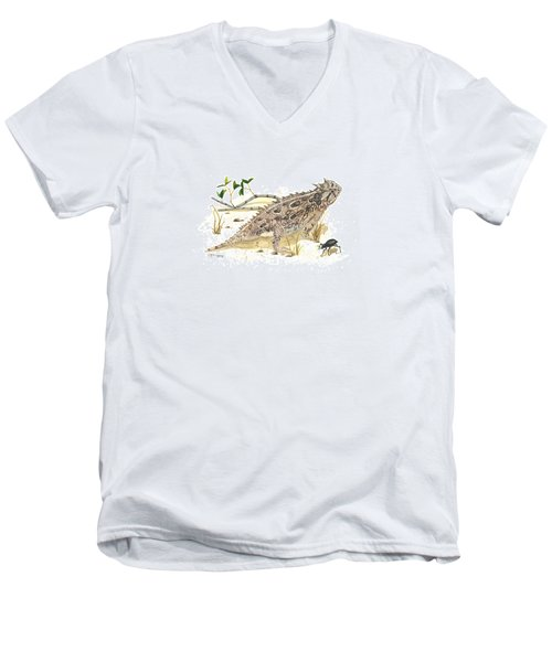 Texas Horned Lizard Men's V-Neck T-Shirt by Cindy Hitchcock