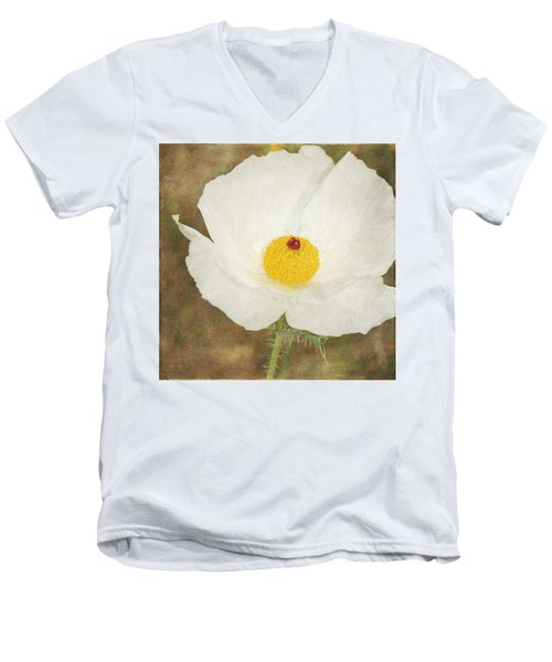 Texas Prickly Poppy Wildflower Men's V-Neck T-Shirt