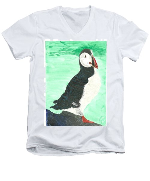 That's Another Puffin Year Over Men's V-Neck T-Shirt by Tracey Williams