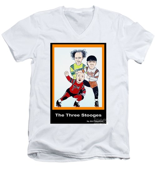 The 3 Stooges Playing Roller Derby Men's V-Neck T-Shirt by Jim Fitzpatrick